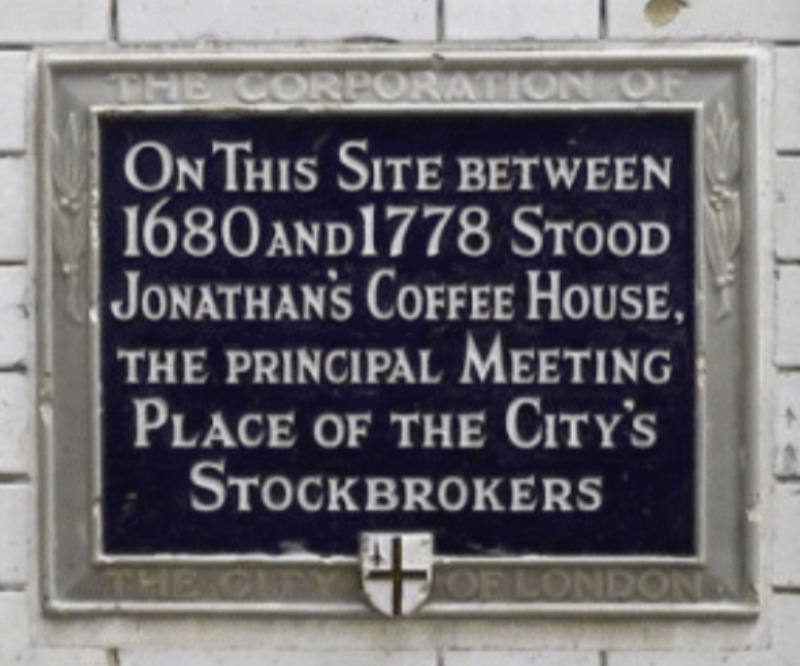 Jonathan's Coffee House in Change Alley plaque