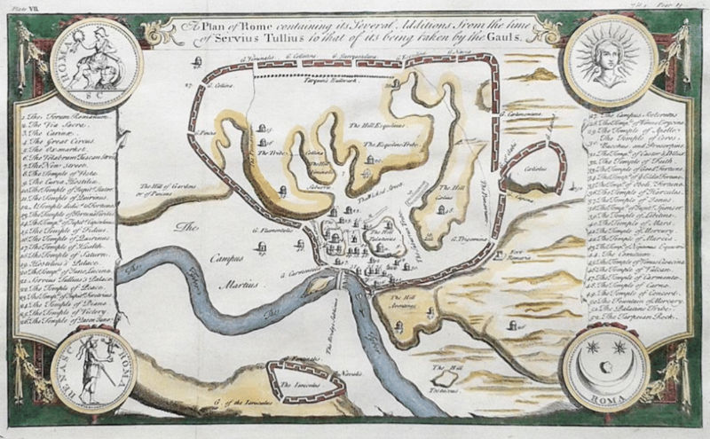 antique historical map of rome by Isaac Basire - c1765