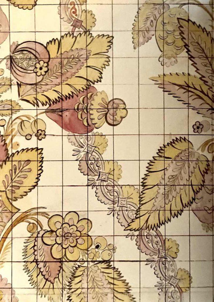 Huguenot silk pattern design