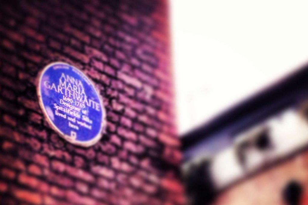 huguenot textile designer anna maria garthwaite plaque princelett street spitalfields